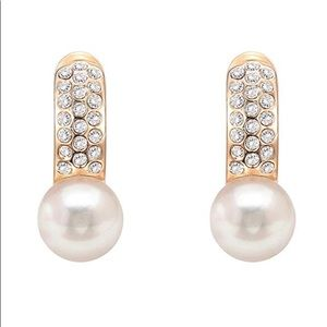 Jewelry - 14k Gold Plated Earrings CZ Shell Pearl Cuffs New